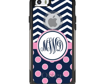 OtterBox Commuter for Apple iPhone 5S SE 5C 6 6S 7 8 PLUS X 10 - Custom Monogram or Image - Navy Pink Polka Dots Chevron
