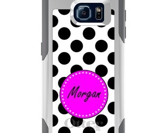 OtterBox Commuter for Galaxy S4 / S5 / S6 / S7 / S8 / S8+ / Note 4 5 8 - CUSTOM Monogram Name Initials - Black White Pink Polka Dots