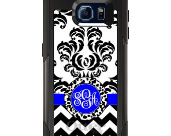 OtterBox Commuter for Galaxy S4 / S5 / S6 / S7 / S8 / S8+ / Note 4 5 8 - CUSTOM Monogram Name Initials - Black White Blue Damask Chevron