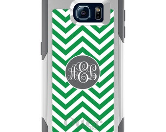 OtterBox Commuter for Galaxy S4 / S5 / S6 / S7 / S8 / S8+ / Note 4 5 8 - CUSTOM Monogram Name Initials - Green White Grey Chevron Circle