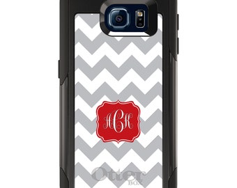 OtterBox Commuter for Galaxy S4 / S5 / S6 / S7 / S8 / S8+ / Note 4 5 8 - CUSTOM Monogram Name Initials - Grey White Chevron Red Frame