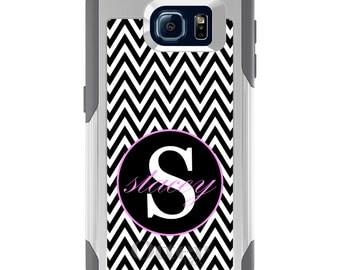OtterBox Commuter for Galaxy S4 / S5 / S6 / S7 / S8 / S8+ / Note 4 5 8 - CUSTOM Monogram Name Initials - Black White Chevron Pink