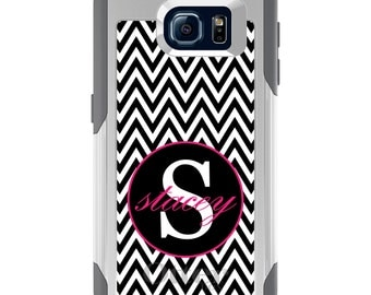 OtterBox Commuter for Galaxy S4 / S5 / S6 / S7 / S8 / S8+ / Note 4 5 8 - CUSTOM Monogram Name Initials - Black White Chevron Hot Pink