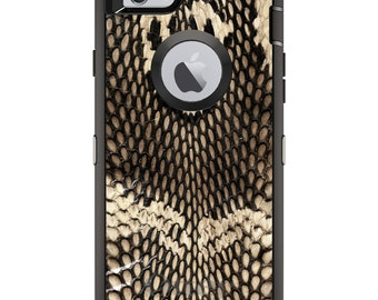 CUSTOM OtterBox Defender Case for Apple iPhone 6 / 6S / 7 / PLUS - Personalized Monogram - Brown Tan Snake Skin Texture