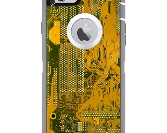 CUSTOM OtterBox Defender Case for Apple iPhone 6 6S 7 8 PLUS X 10 - Personalized Monogram - Yellow Circuit Board