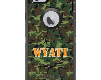 CUSTOM OtterBox Defender Case for Apple iPhone 6 6S 7 8 PLUS X 10 - Personalized Monogram - Green Camo Camouflage Name