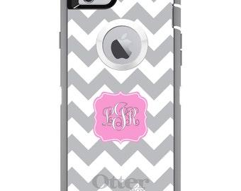 CUSTOM OtterBox Defender Case for Apple iPhone 6 6S 7 8 PLUS X 10 - Personalized Monogram - Grey White Chevron Pink Frame