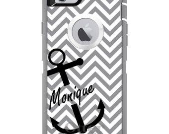 CUSTOM OtterBox Defender Case for Apple iPhone 6 6S 7 8 PLUS X 10 - Personalized Monogram - Gray White Chevron Black Anchor