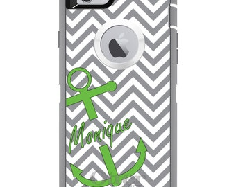 CUSTOM OtterBox Defender Case for Apple iPhone 6 6S 7 8 PLUS X 10 - Personalized Monogram - Gray White Chevron Lime Green Anchor
