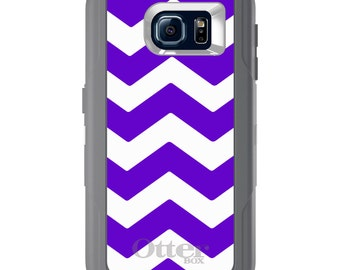 Custom OtterBox Defender for Galaxy S5 S6 S7 S8 S8+ Note 5 8 Any Color / Font - Purple White Chevron Stripes