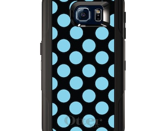 Custom OtterBox Defender for Galaxy S5 S6 S7 S8 S8+ Note 5 8 Any Color / Font - Black Blue Polka Dots