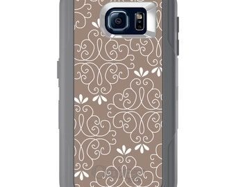 Custom OtterBox Defender for Galaxy S5 S6 S7 S8 S8+ Note 5 8 Any Color / Font - Tan White Floral