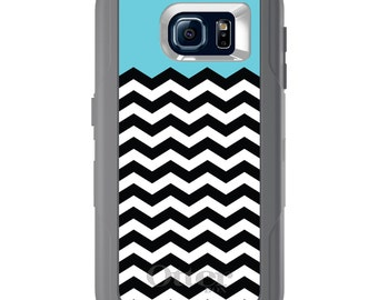 Custom OtterBox Defender for Galaxy S5 S6 S7 S8 S8+ Note 5 8 Any Color / Font - Black White Blue Chevron