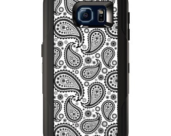 Custom OtterBox Defender for Galaxy S5 S6 S7 S8 S8+ Note 5 8 Any Color / Font - Black White Paisley