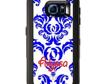 Custom OtterBox Defender for Galaxy S5 S6 S7 S8 S8+ Note 5 8 Any Color / Font - Blue White Damask Red Name