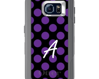 Custom OtterBox Defender for Galaxy S5 S6 S7 S8 S8+ Note 5 8 Any Color / Font - Purple Black Polka Dots Name