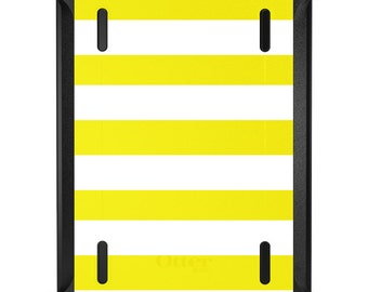 Custom OtterBox Defender for Apple iPad 2 3 4 / Air 1 2 / Mini 1 2 3 4 - CUSTOM Monogram - Yellow & White Bold Stripes