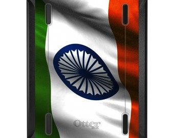Custom OtterBox Defender for Apple iPad 2 3 4 / Air 1 2 / Mini 1 2 3 4 - CUSTOM Monogram - India Waving Flag Indian