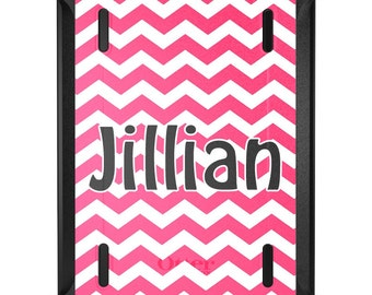 Custom OtterBox Defender for Apple iPad 2 3 4 / Air 1 2 / Mini 1 2 3 4 - CUSTOM Monogram - Pink Chevron Grey Name