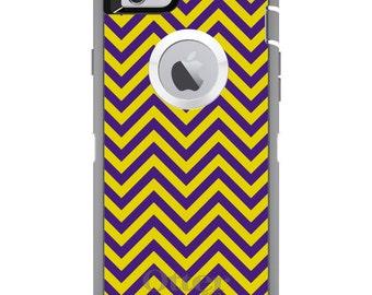 Custom OtterBox Defender Case for Apple iPhone 6 6S 7 8 PLUS X 10 - Monogram - Louisiana State University LSU Tigers Colors - Chevron