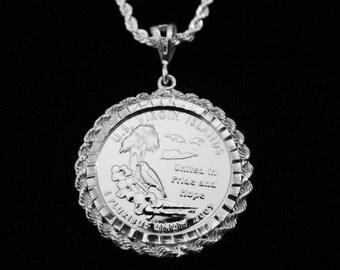 US Virgin Islands Silver Drop w Matching Sterling Chain