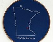 Personalized State Wedding Cross Stitch Map