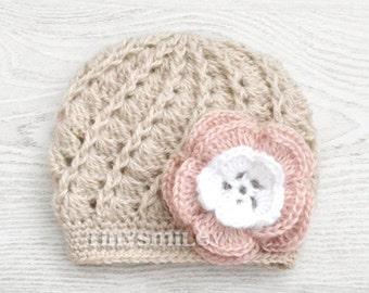 Crochet Baby Hat, Newborn Baby Girl Hat, Beige Baby Hat, Beige Newborn Hat, Beige Baby Hat, Coming Home Outfit, Infant Girl Hat, Baby Girl