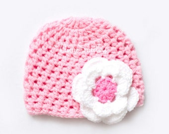Pink Crochet Baby Hat, Pink Flower Baby Beanie, Crochet Beanie Hat, Baby Girl Hat, Baby Girl, Hats for Girls, Newborn Baby Girl Hat, Pinky