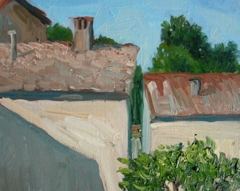 """Tuscany landscape Original painting Florence, oil on canvas impressionist Tuscany Italy, town, 8""""x10"""", Sessa"""