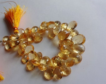4-inch strand AAA quality Natural Citrine faceted pear drop size 12-15mm GW197