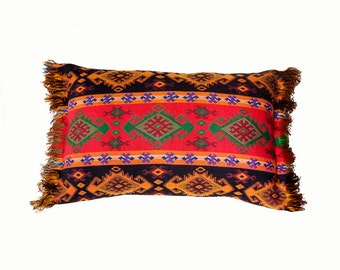 Kilim tapestry pillow.red.green.orange.purple.black.Persian tapestry design.fringe.accent pillow.lumbar pillow.geometric design.kelim pillow
