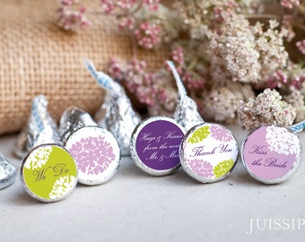 Printed for you personalized hershey kiss stickers Hershey kiss label Bridal shower Wedding decor Hydrangea flower Party favors Ready to use