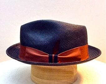 Panama Hat, New Stingy Brim Black Straw, Fedora 59 cm., 7 3/8