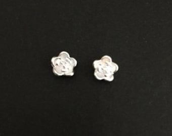TINY Sterling Silver Rose Earrings. Silver Rose Studs. Tiny Silver Flower Studs. Everyday Earrings. Cute Flower Studs. Gift for Her.