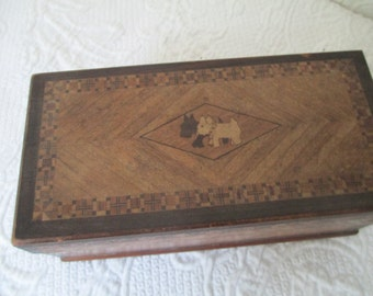 Vintage wooden box with Scotties