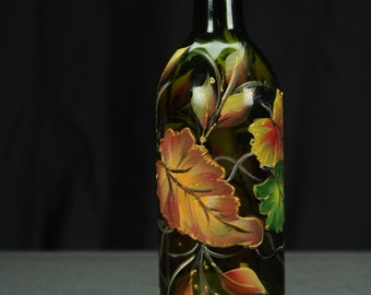Hand Painted 750ml Wine Bottle Hurricane Shade / Fall Leaves On Brown Bottle