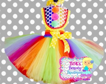 Clown/First Birthday Tutu Dress/Halloween/Birthday/Pageant Wear/Infant/Toddler/Girl