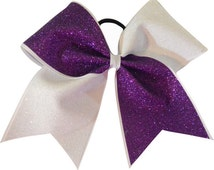 Purple and White Cheer Bow | Tick Tock Cheer Bow | Cheerleading Bow | Cheer Bow