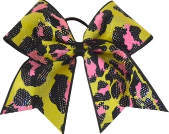 Pink and Yellow Cheetah Sparkle Cheer Bow