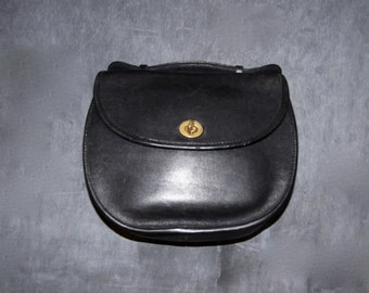Vintage Black Leather Coach Handbag, Made in the United States