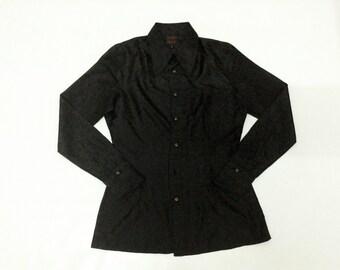 Isabel Marant 100% Silk Jacquard Floral Dark Brown Shirt Size 1