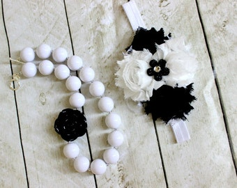 chunky bubblegum necklace black and white chunky bead necklace white black stripe polka dot chunky necklace bubble gum necklace photo prop