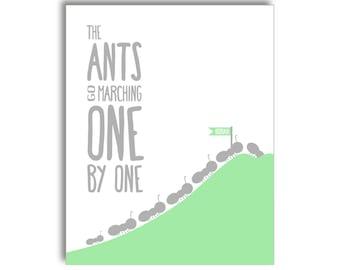 Ants Go Marching Nursery Printable - Grey