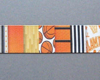 "BASKETBALL-Themed Collage 1"" Grosgrain Craft Ribbon  - 3 Yards"