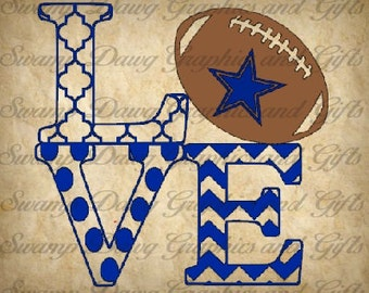 Cowboys Love cut file, silhouette, cricut, svg, decal, vinyl, digital file, football, sports, dallas, texas, quatrefoil, chevron, polka dot