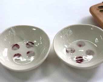 ceramic bowl , off-white, pattern Marsela , handmade