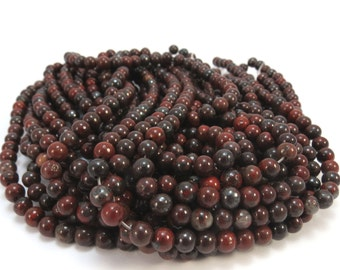 Brecciated Jasper Beads, Natural 4mm Jasper Beads, 16 inch Strand, 4mm Red and Black Beads, Beading Supplies, Item 631pm