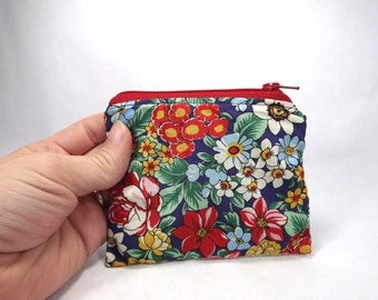 Bold floral zipper pouch, red blue floral, card wallet, coin purse, bright floral, coin pouch, bag purse