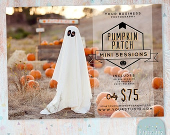 Photography Marketing Board - Pumpkin Mini Sessions - Photoshop template - ID008 - INSTANT DOWNLOAD