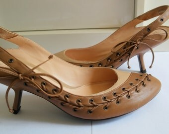 Vintage ALEXANDE MC QUEEN pumps, new old stock, pre atlantis, size 40, corset closure, sling back